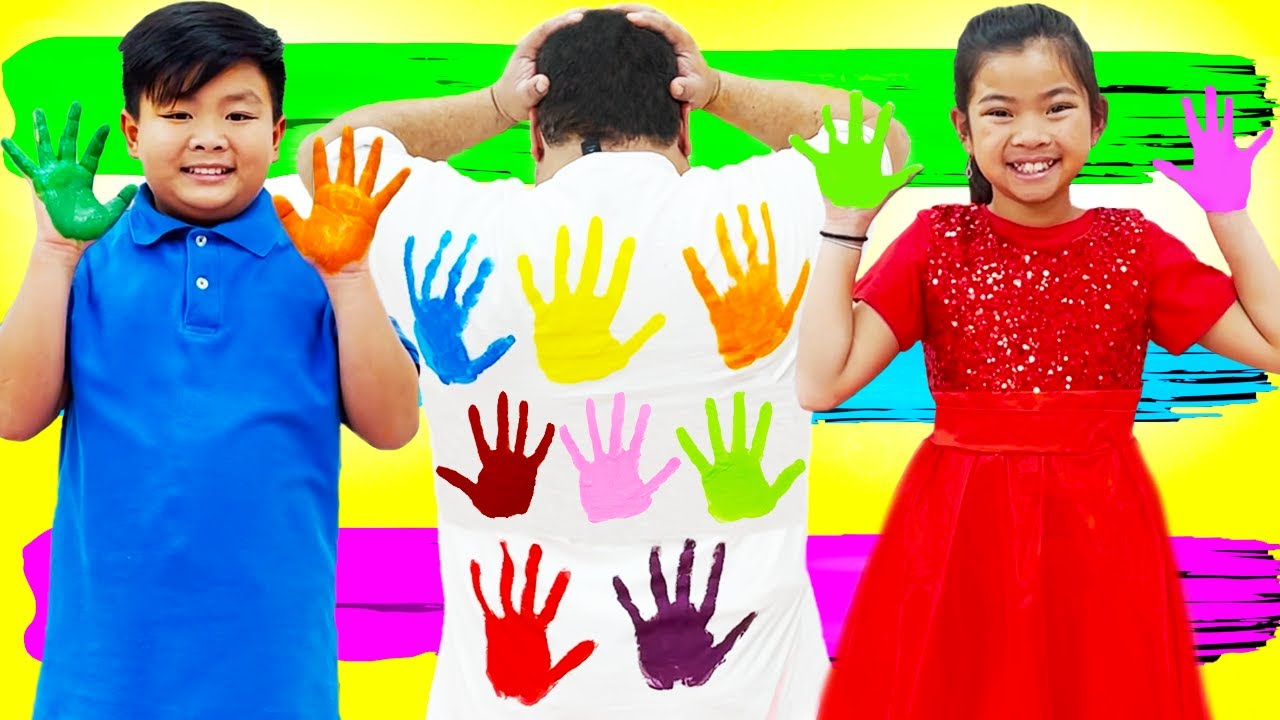 Emma and Alex Pretend Play Paint on Hands | Learning Colors for Kids