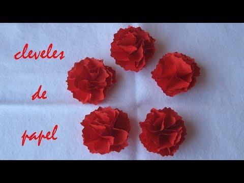 DIY - claveles de papel facil - easy paper carnations - ورقة القرنفل سهلة- 簡單的紙康乃馨