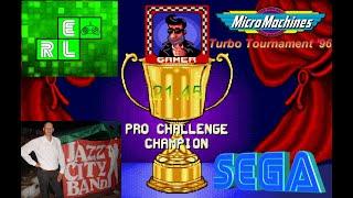 Micro Machines - Turbo Tournament '96 (SMD).Режим игры  -  Pro Challenge - PAL - 21.45.Играет Gamer.