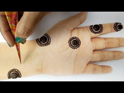 आसान राखी मेहँदी लगाना सीखे - बहुत सरल गोल टिक्की मेहँदी आने वाले तीज त्यौहार के लिए, Stylish Mehndi