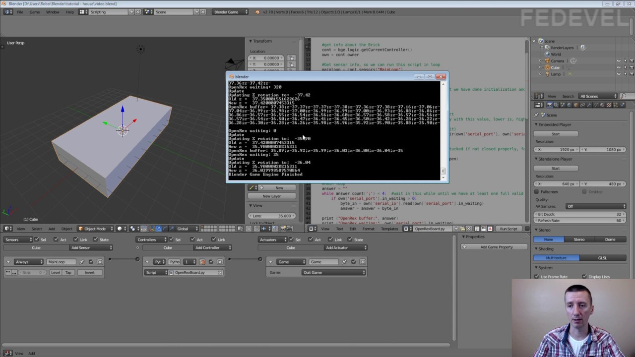 How to move object in 3D software by Magnetometer, Accelerometer, Gyro data  - Blender