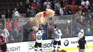 Teddy Bear Toss at San Jose Barracuda hockey game makes everyone a winner