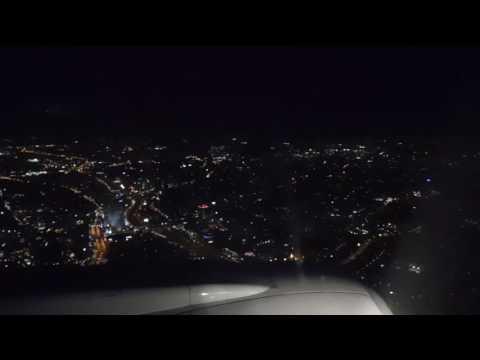 Ночной Тель Авив из окна самолета. Посадка в аэропорту Бен Гурион.