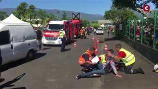 Un accident grandeur nature pour s'exercer avec les pompiers