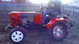 Самодельный трактор пробная вспашка самодельным плугом
