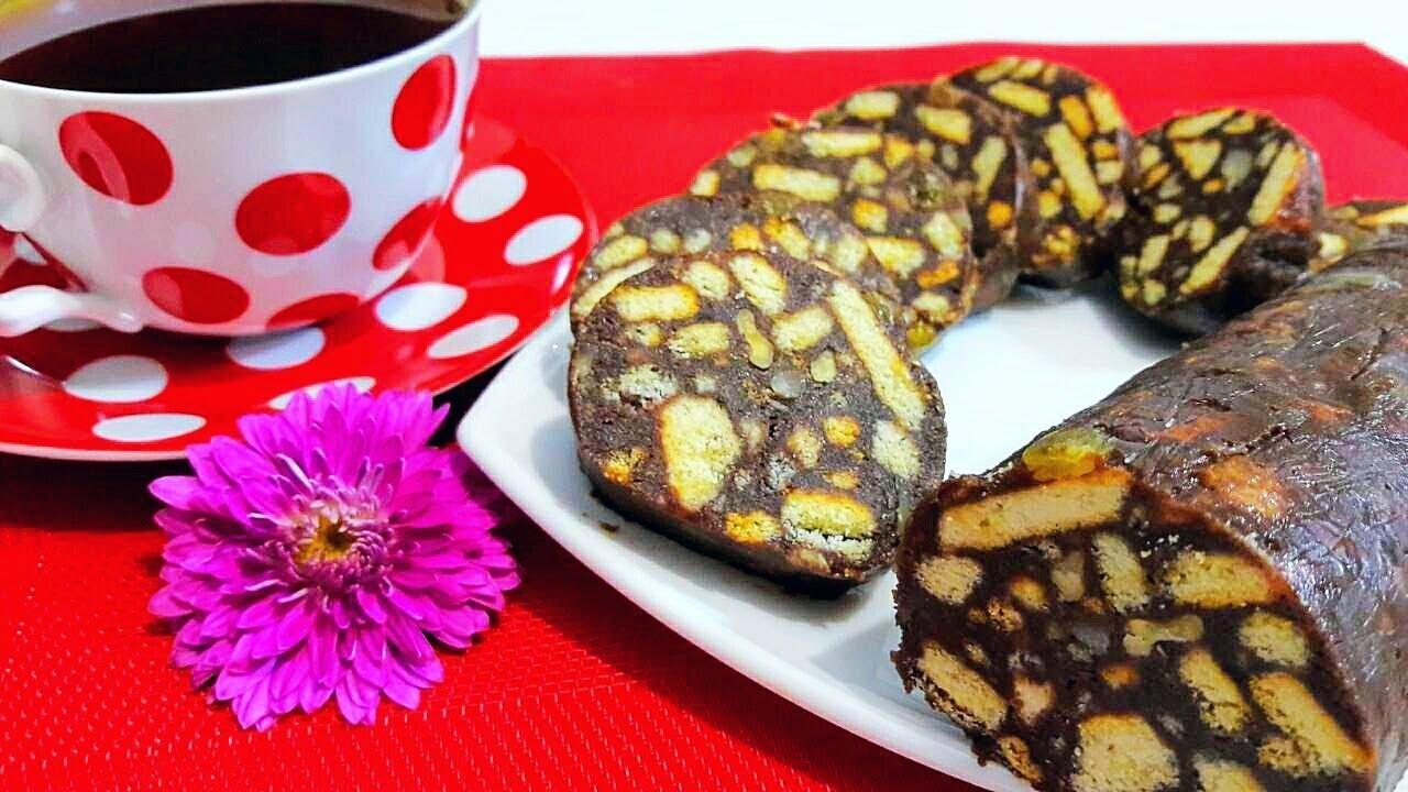 Шоколадная Чайная Колбаса из Детства Простой и Быстрый Рецепт О-о-очень Вкусной Шоколадной Колбаски