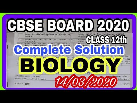 Cbse Biology Solution 2020 | Cbse Class12th Biology Paper Solution 2020 | 2020 Cbse Biology Solution