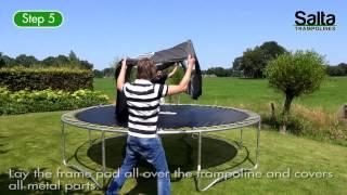 Ronde Trampoline met veiligheidsnet instructie video.   http://www.saltashop.nl   Salta Trampolines