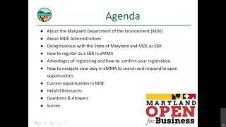 Doing Business with the Maryland Department of the Environment MDE - A Maryland PTAC Outreach Event