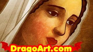 How to Draw Mary, Virgin Mary, Step by Step