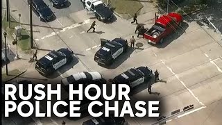 Watch full police chase through Houston's rush hour traffic
