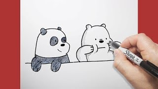 الدببة الثلاثة | كيف ترسم قطبي وبندا | بالخطوات | تعليم الرسم