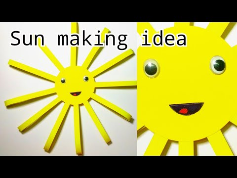 DIY Paper sun making/How to make paper sun/sun making idea with paper/school craft idea for kids 🌄