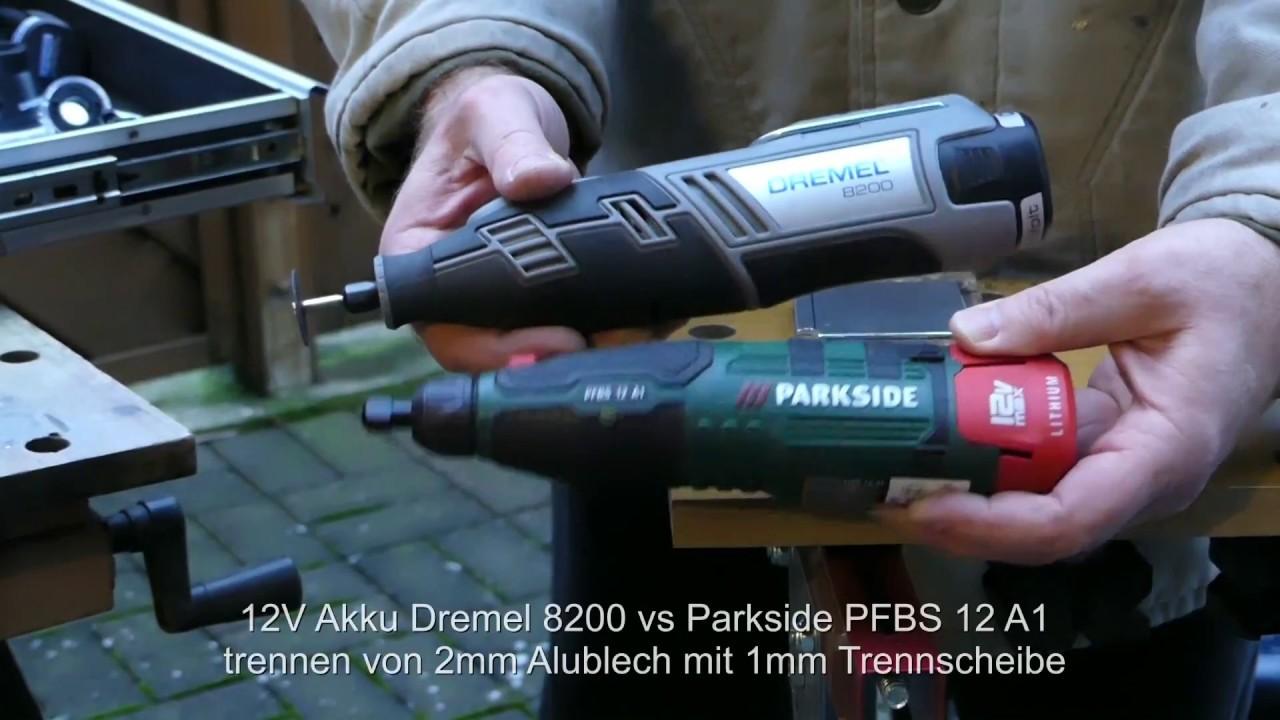 vergleich dremel 8200 vs parkside pfbs12a1 geradschleifer - trennen