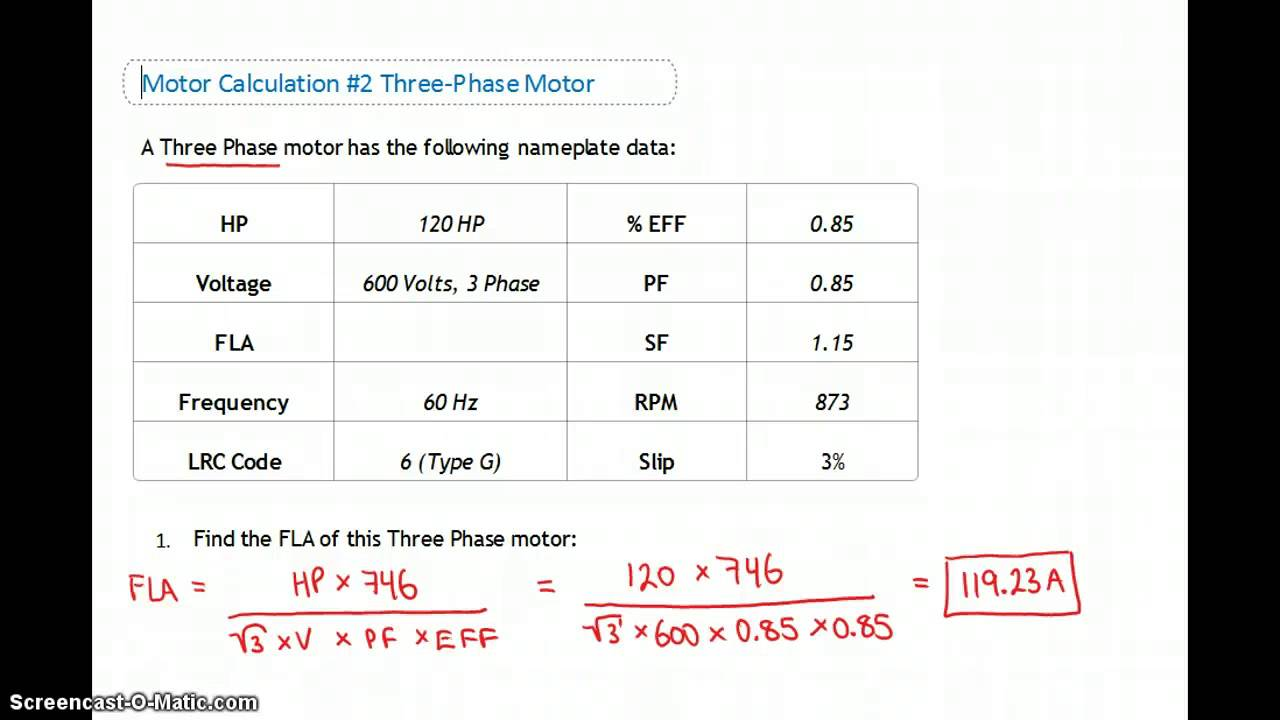 Motor Name Plate Calculations #1 to #3
