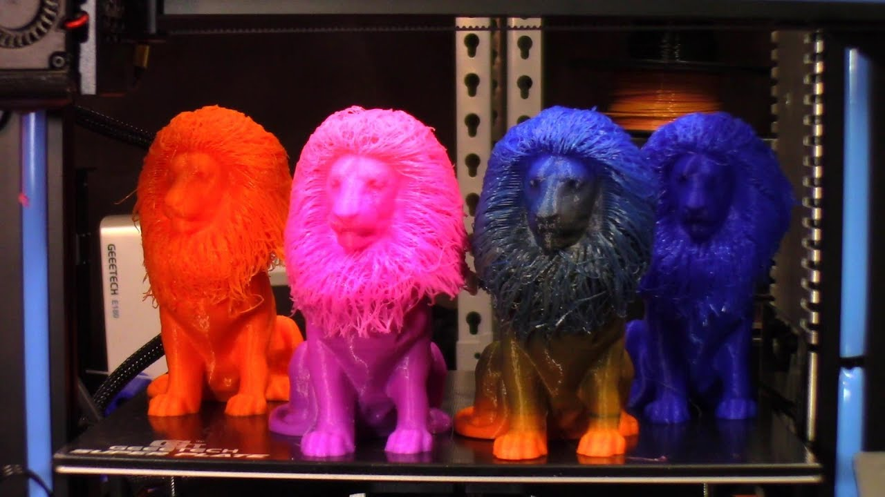 3D Printed Color Gradient Hairy Lion On The Geeetech A10M