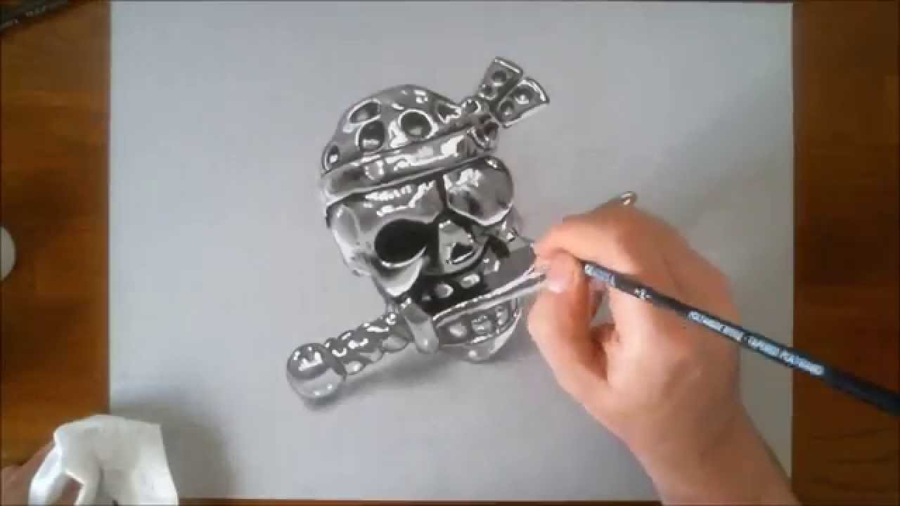 Immagini Di Teschio Pirati disegno realistico in time lapse: teschio pirata di metallo