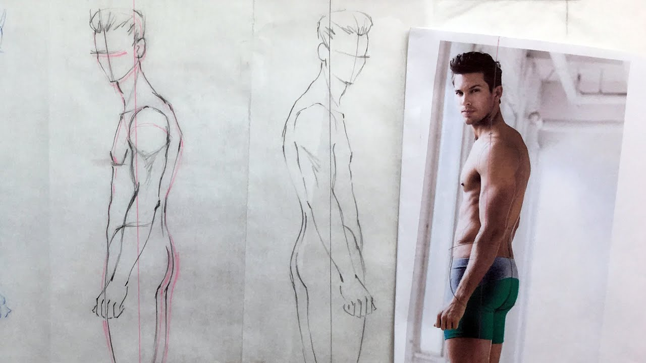 Fashion Figures Tutorial  Side View Poses  Male   YouTube