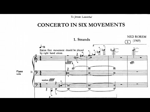 Ned Rorem - Piano Concerto In Six Movements (audio + Sheet Music)