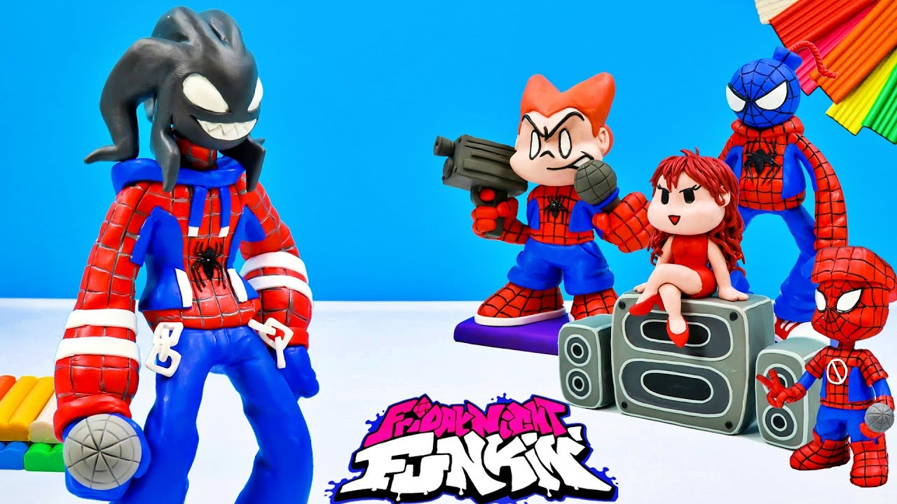 Agoti from Friday Night Funkin' mod Spiderman with clay 🎤 Superheroes 🎤 Polymer Clay Tutorial