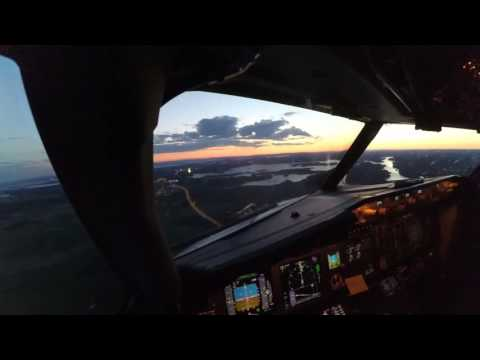 Summer evening landing at Moss Rygge airport, Norway