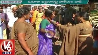 Women Police beats devotee at Vemulavada Temple | V6news