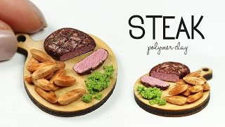 polymer clay Steak & potato wedges TUTORIAL | polymer clay food