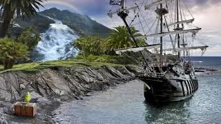 Картинка природа. Гора, море, сундук, попугай, корабль, радуга, камни, водопад. 🌈