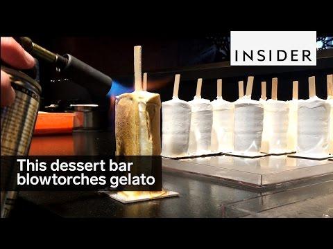 This dessert bar blowtorches their chocolate-covered gelato