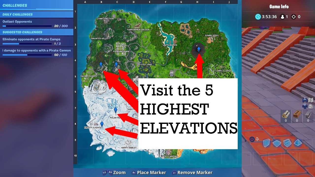 Visit The 5 Highest Elevations On The Island Fortnite Youtube