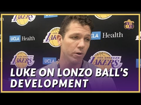 Lakers Interview: Luke Walton Updates Lonzo's Injury From Practice and Talks About HIs Development