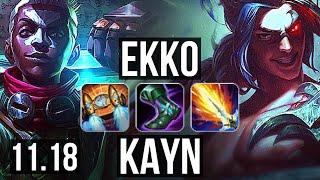 EKKO vs KAYN (JUNGLE) | Rank 3 Ekko, 8/0/4, Legendary, Rank 12 | NA Challenger | v11.18