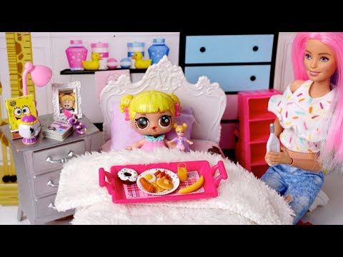 Barbie Doll LOL Family Sick School Morning Routine With Baby Goldie