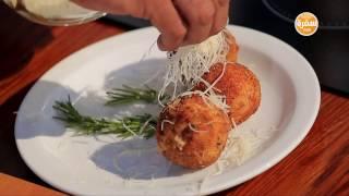 طريقة عمل كابوريا حارة مسلوقة - كرات أرز محمرة بالجبن | شبكة و صنارة حلقة كاملة