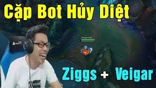 Đua Rank 5 vs 5 Cùng Biệt Đội TRÂU CÀY THUÊ | Cặp Bot Hủy Diệt Ziggs vs Veigar - Trâu best Udyr