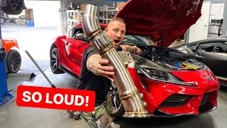 NEW 2020 SUPRA DOWNPIPE EXHAUST INSTALL! *SOUNDS INSANE*
