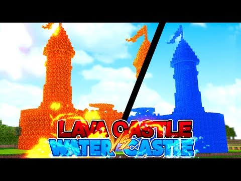 Minecraft - WATER HOUSE Vs LAVA HOUSE - CASTLE ADDITION!!