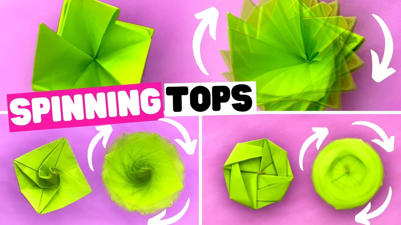 How to make 3 EASY and fun paper SPINNING TOPs [origami spinning top]
