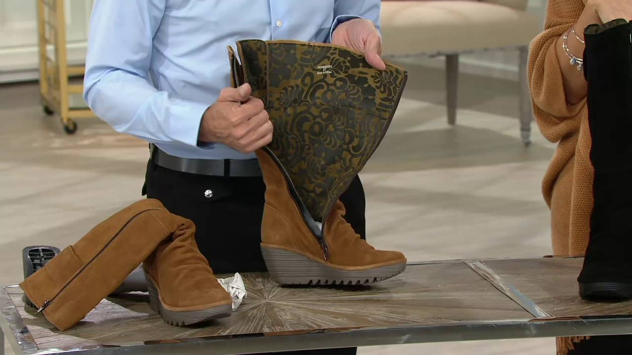 FLY London Suede Tall Wedge Boots Yulo on QVC