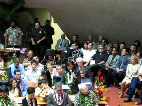 Barack Obama, Rep. Lynn Finnegan, Opening Day Hawaii State Legislature, 2009