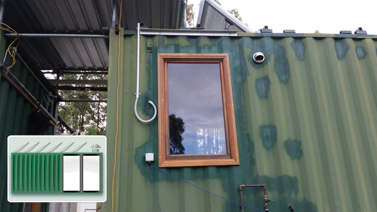 Shipping Container House Installing Wooden Window In