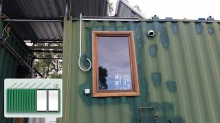 Shipping Container house – Installing wooden window in kitchen