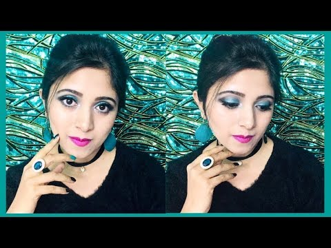 Easy Beautiful Looking Turquoise Eye Makeup | Turquoise Eye Makeup Tutorial