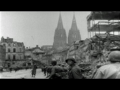 HD Stock Footage WWII Lest We Forget R7 - Ruhr River, Battle of Cologne