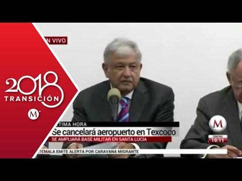Mensaje de AMLO sobre la cancelación del aeropuerto en Texcoco