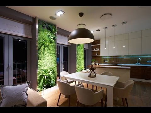 Light Apartment Interior Design with Beautiful Vertical Garden