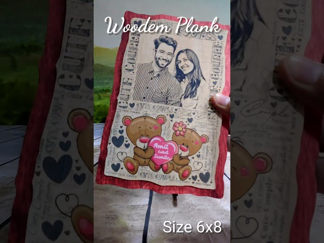 WOODEN PLANK COUPLE PENCIL SKETCH PHOTO FRAME WITH STAND 6X8INCH   PHOTO GIFTS THE WEDDING FOREVER