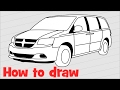 How to draw a car Dodge Grand Caravan 2017 step by step