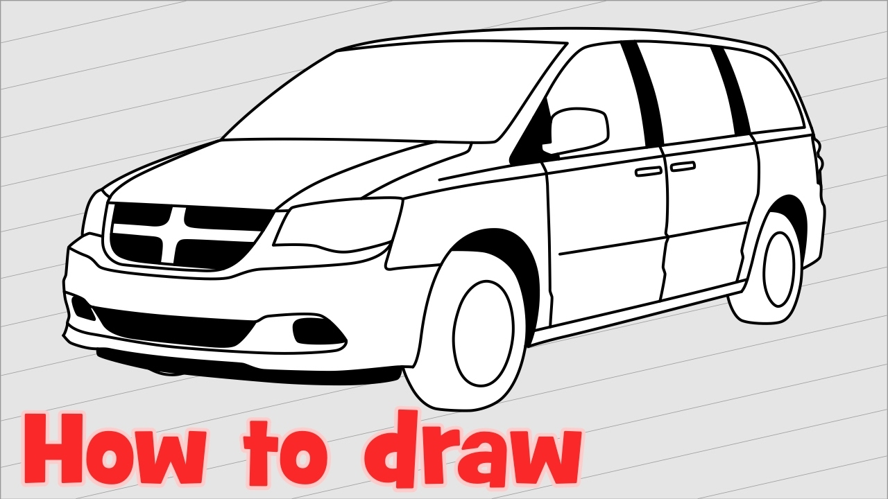 how to draw a car dodge grand caravan 2017 step by step youtube. Black Bedroom Furniture Sets. Home Design Ideas