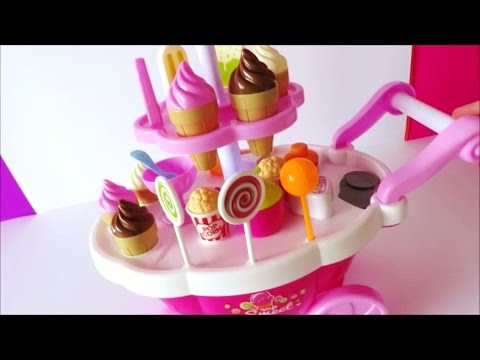 Toy ice cream cart learn colors names of foods lollipop candy chocolate strawberry ice cream kids to